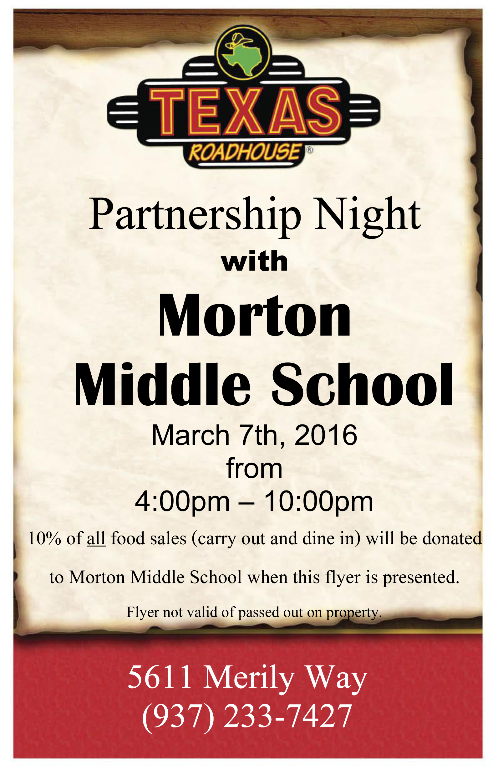 Visit Texas Roadhouse, Support Morton PTO